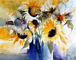 sonnenblumen aquarelle in der galerie von aquarellwelt die sonnenblume als aquarell. Black Bedroom Furniture Sets. Home Design Ideas
