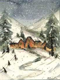 Eine Schneelandschaft als Aquarell von Birgit Busch